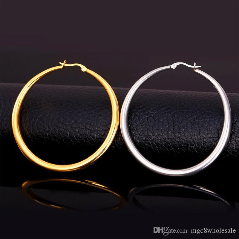 U7 Grandes Boucles D'oreilles New Trendy En Acier Inoxydable / 18 K Réel Plaqué Or Bijoux De Mode Ronde Grande Taille Hoop Boucles D'oreilles pour les Femmes