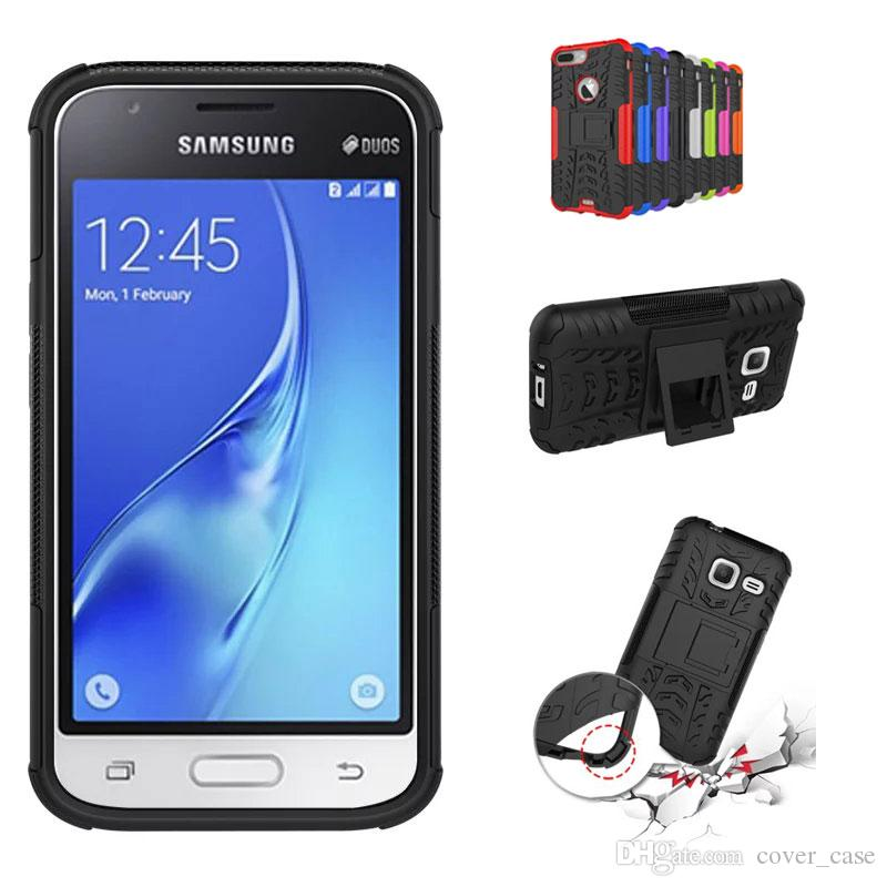 For Samsung Galaxy J1 Mini Rugged Rubber Back Cover Case Kickstand Armor Shockproof Hard Soft Silicone Phone Free Cell Cases