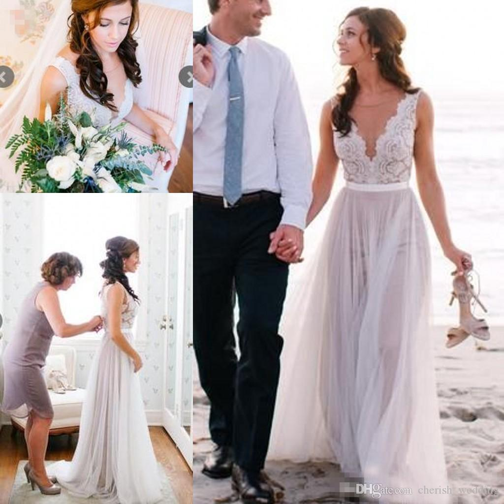 Discount Beach Boho Wedding Dresses 2017 A Line Illusion Bodice Lace ...