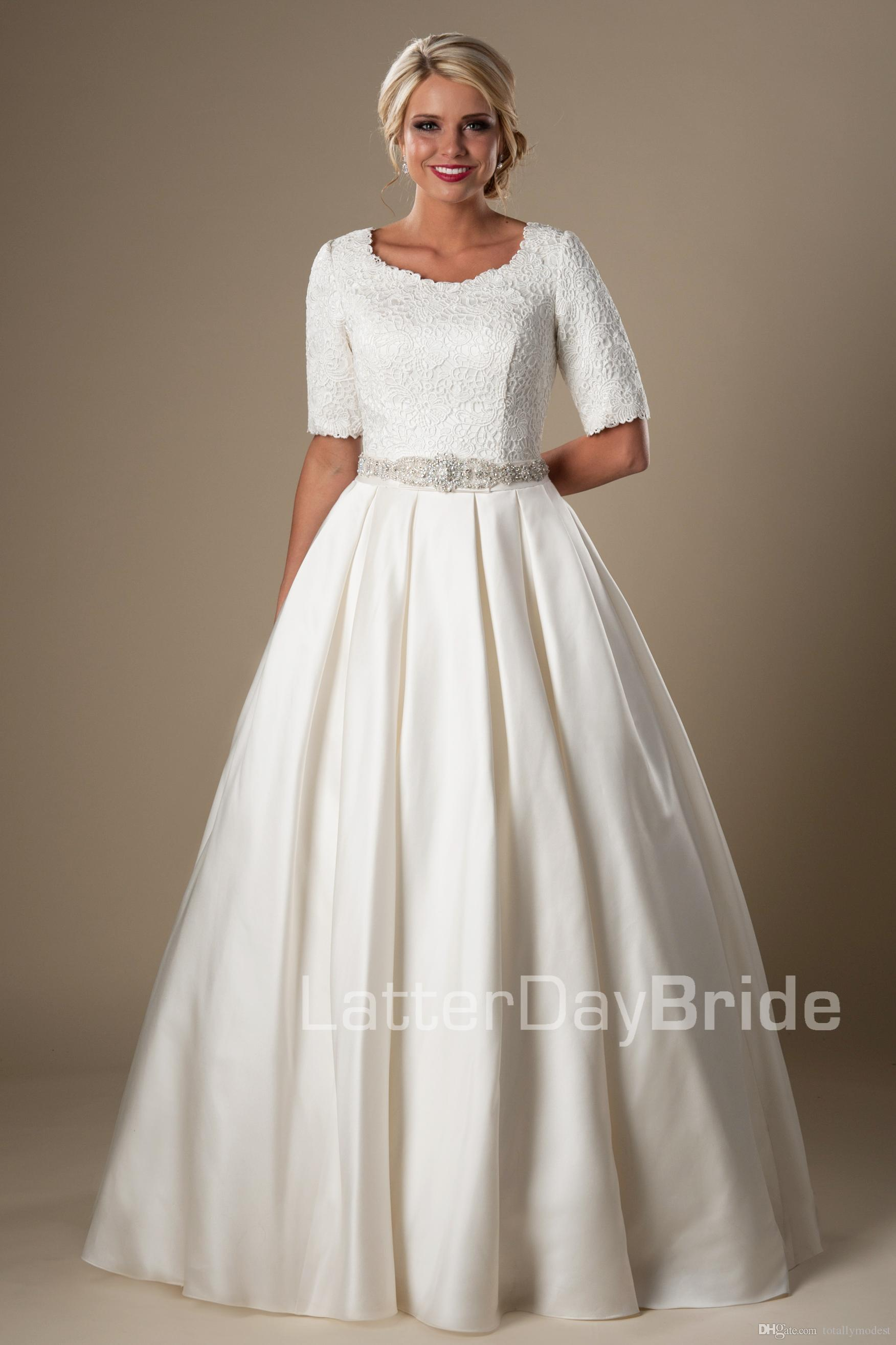Vintage lace satin modest wedding dresses with half for Short modest wedding dresses