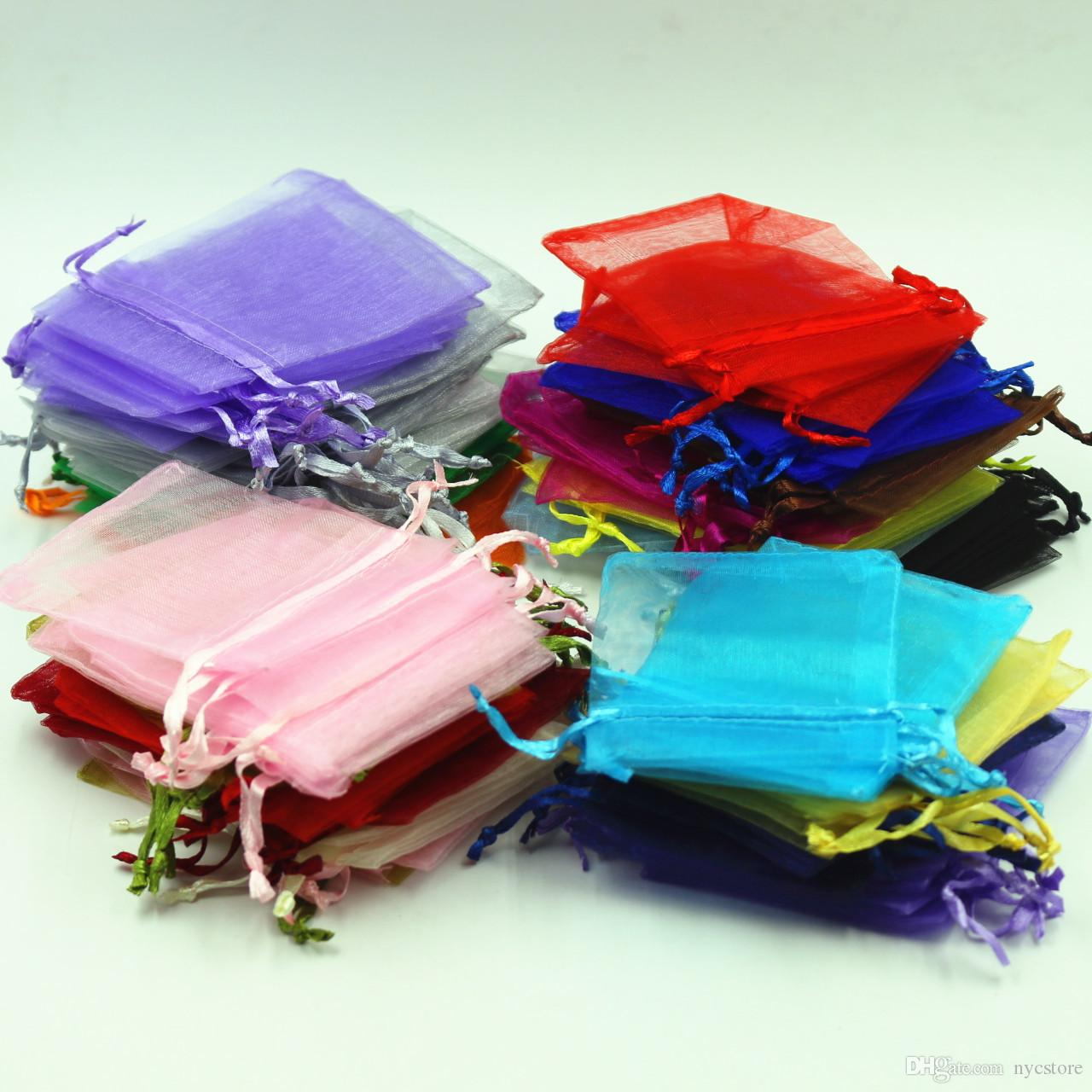 Wholesale Jewelry Bags MIXED Organza Jewelry Wedding Party Xmas Gift Bags Purple Blue Pink Yellow Black With Drawstring 7*9cm