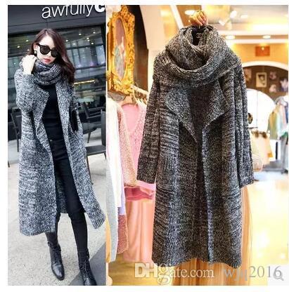 2018 2016 Winter Long Loose Knit Sweater Cardigan Jacket Women ...