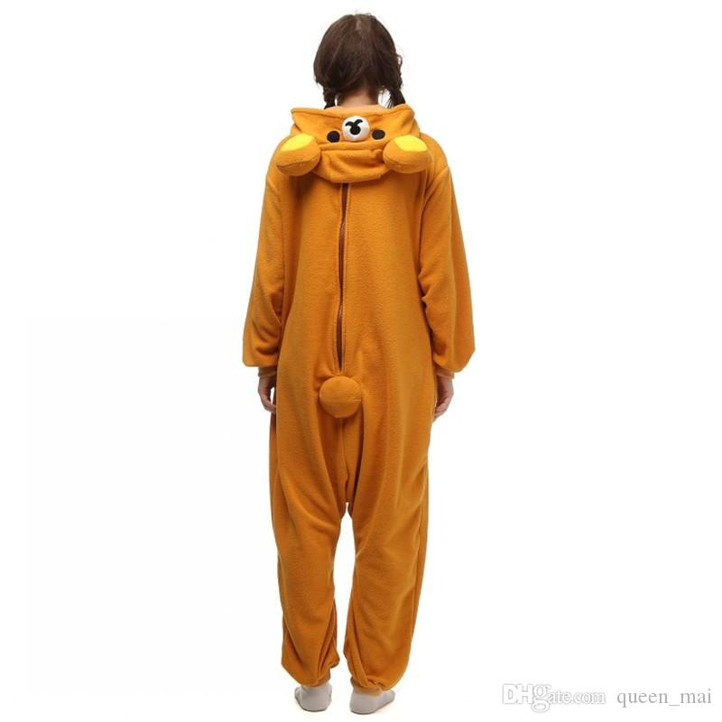 Bien hecho 2016 NUEVO paño grueso y suave Rilakkuma oso Kigu pijamas Anime Cosplay traje Unisex adulto Onesie ropa de dormir Oso de dibujos animados Mono gratis