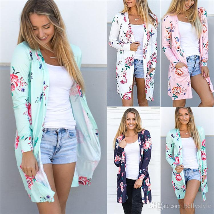 Female Kimono Cardigan Blouse Shirt Spring Autumn Women Top Jacket ...