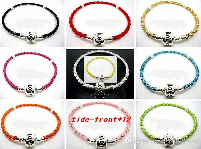 Wholesale Low Price White color Leather Copper Silver Plate Clip Stamped Love Bracelets Fit European Charm Beads 15cm to 24cm