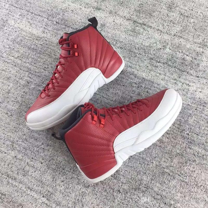 12 OG spor salonu kırmızı colorway kırmızı erkekler Basketbol ayakkabı sneakers içinde yastık karbon fiber Orijinal Fabrika Kalite Sürümü