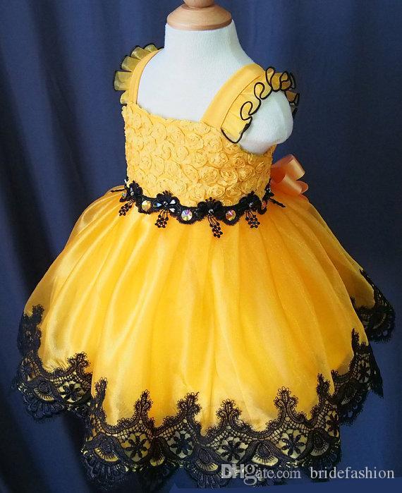 Scollo a U fiocco in pizzo giallo fatto a mano fiore ragazze perline di organza cupcake bambine abiti da spettacolo bambini bambino sfarzo prom abiti da ballo infantili