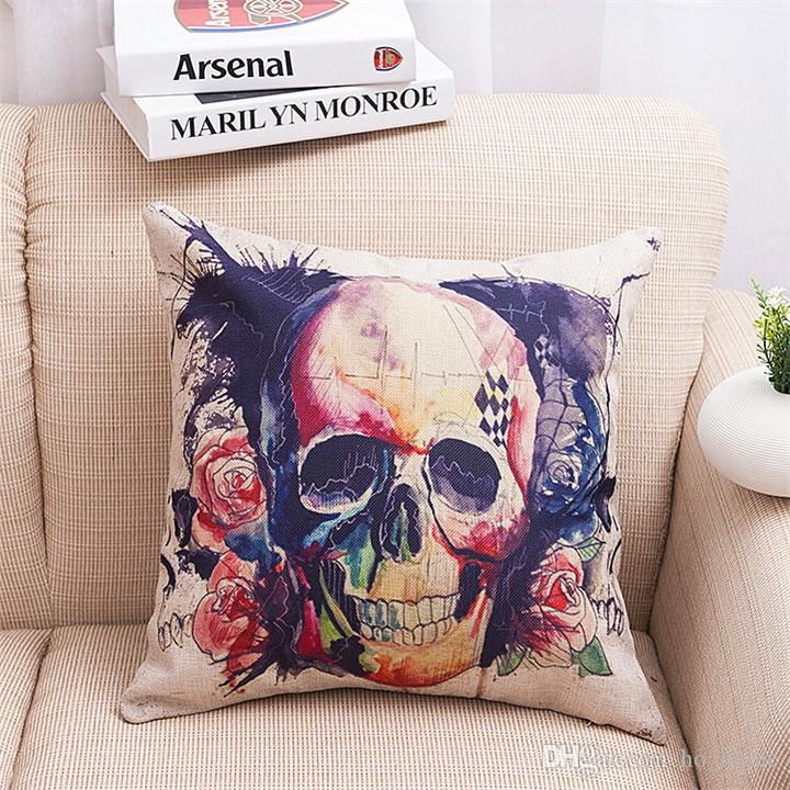 Hot Sale Pillow Covers Cushions Printed Skull Crown Office Sofa Chair Home Textiles Pillowcase Without Pillow Core