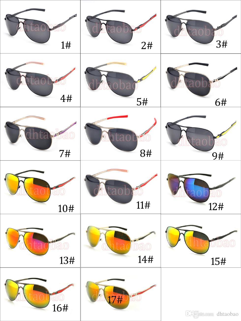 Moq = Qualität Unisexmann Metalldoppel Nase polarisierte Sonnenbrille + Fall Goggle Driving Cycling Beach Glasses 17 Farben