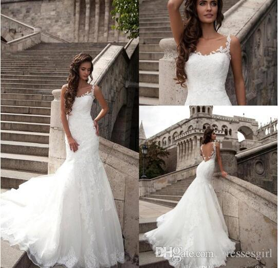 45a63b02a6a 2017 Lorenzo Rossi Sexy Sheer Lace Wedding Dresses Spaghetti Traps Backless  Brush Train With Embroidery Appliqued Beach Bridal Gowns BA3497 Mermaid  Evening ...