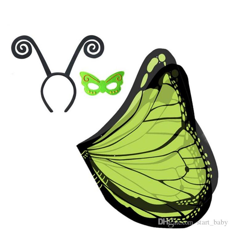 9 cores tecido asas monarca borboleta capa com máscara e headband set para crianças natal halloween cosplay prop traje b11