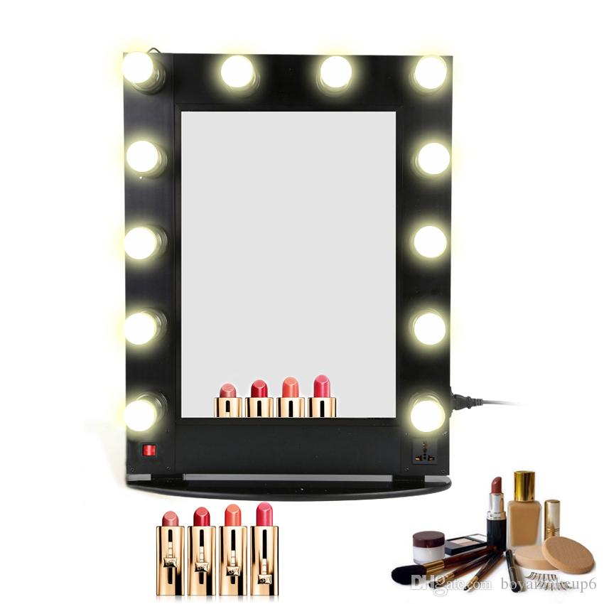 Hollywood Lighted Aluminum Table Desktop Wall Mounted Cosmetic Makeup Artist Salon Vanity Girl Mirror With Lights Bulbs Around Shaving Mirrors Stratton