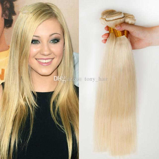 Brazilian Blonde Human Hair Extensions Pure Color 613 Bleach Blonde