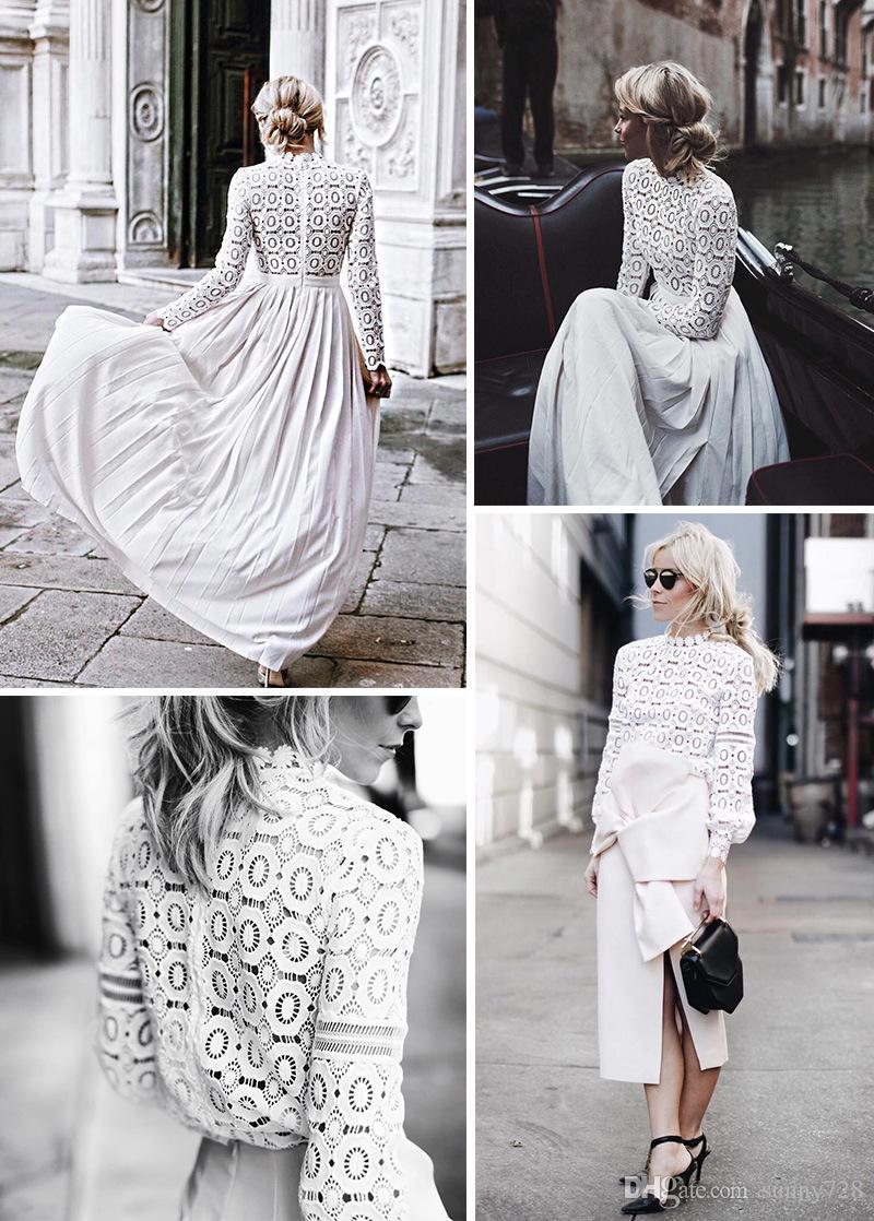 2018 Nuevo Diseño Sexy Sheer Lace White Lady Camisetas Elegante Cuello alto Mangas largas Mujeres Top y Blusa Moda S-L Alta calidad