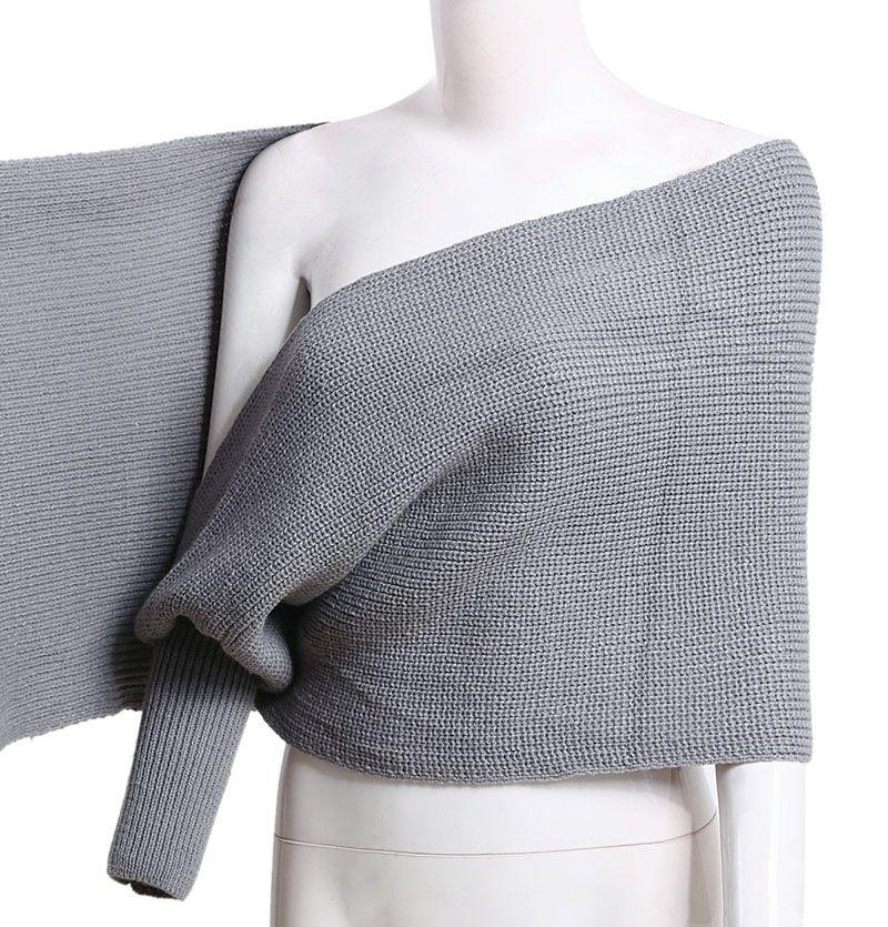 여성 누출 숄더 스웨터 가을과 겨울 니트 목도리 새로운 니트 스웨터 재킷 고급 패션 카디건 목도리