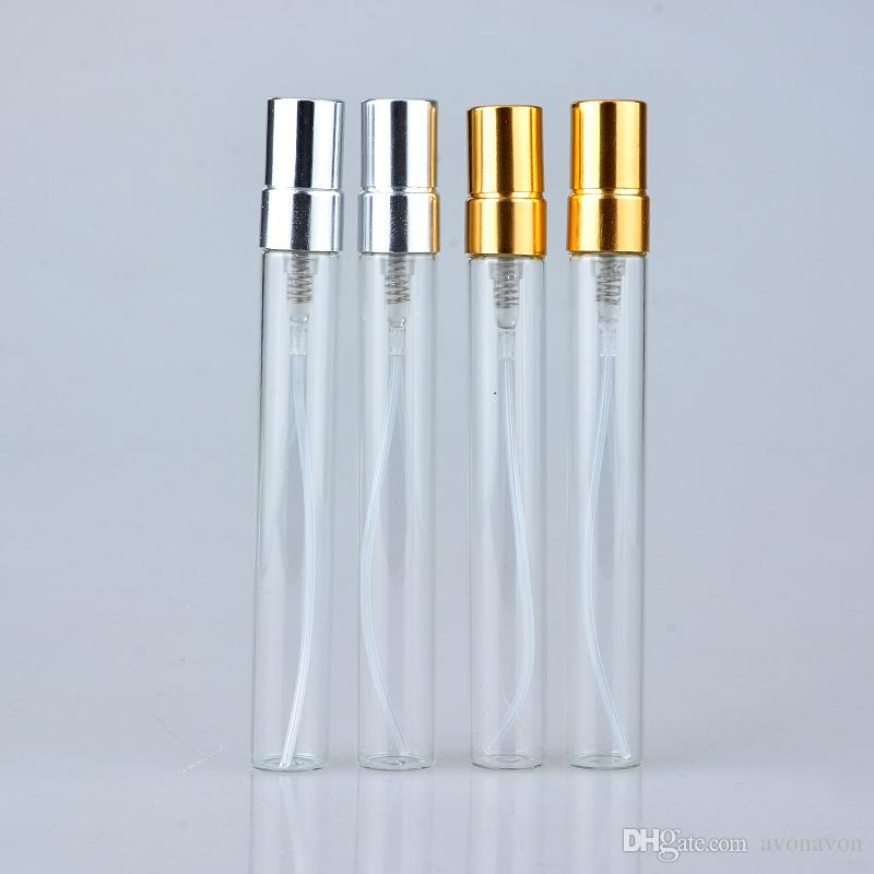 TOP 5ML 10ML Transparent Glass Spray Bottle Empty Clear Refillable Perfume Atomizer with Gold Silver Cap Portable Sample Glass Vials b706