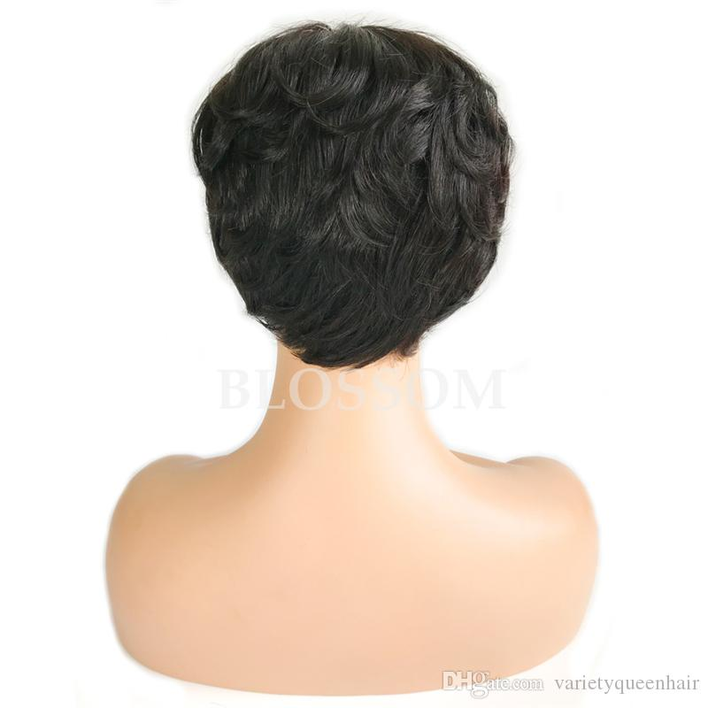 Human hair wigs glueless Full lace cap wig Pixie cut Brazilian Human hair short curly wig human hair wig for fashion black women