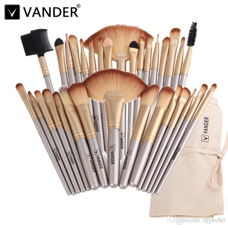 VanderLife 32 teile / satz Champagnergold Gold Oval Make-up Pinsel Professionelle kosmetische Make-up Pinsel Kabuki Foundation Pulverlippenmischung Schönheit