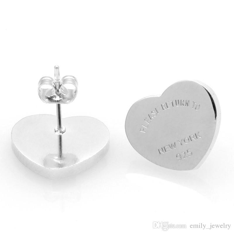 2017 moda nuevo llega la marca de acero titanium Heart Love pendientes para mujer joyería 18 k chapado en oro de 10 mm y 14 mm de ancho regalo de niña con logo