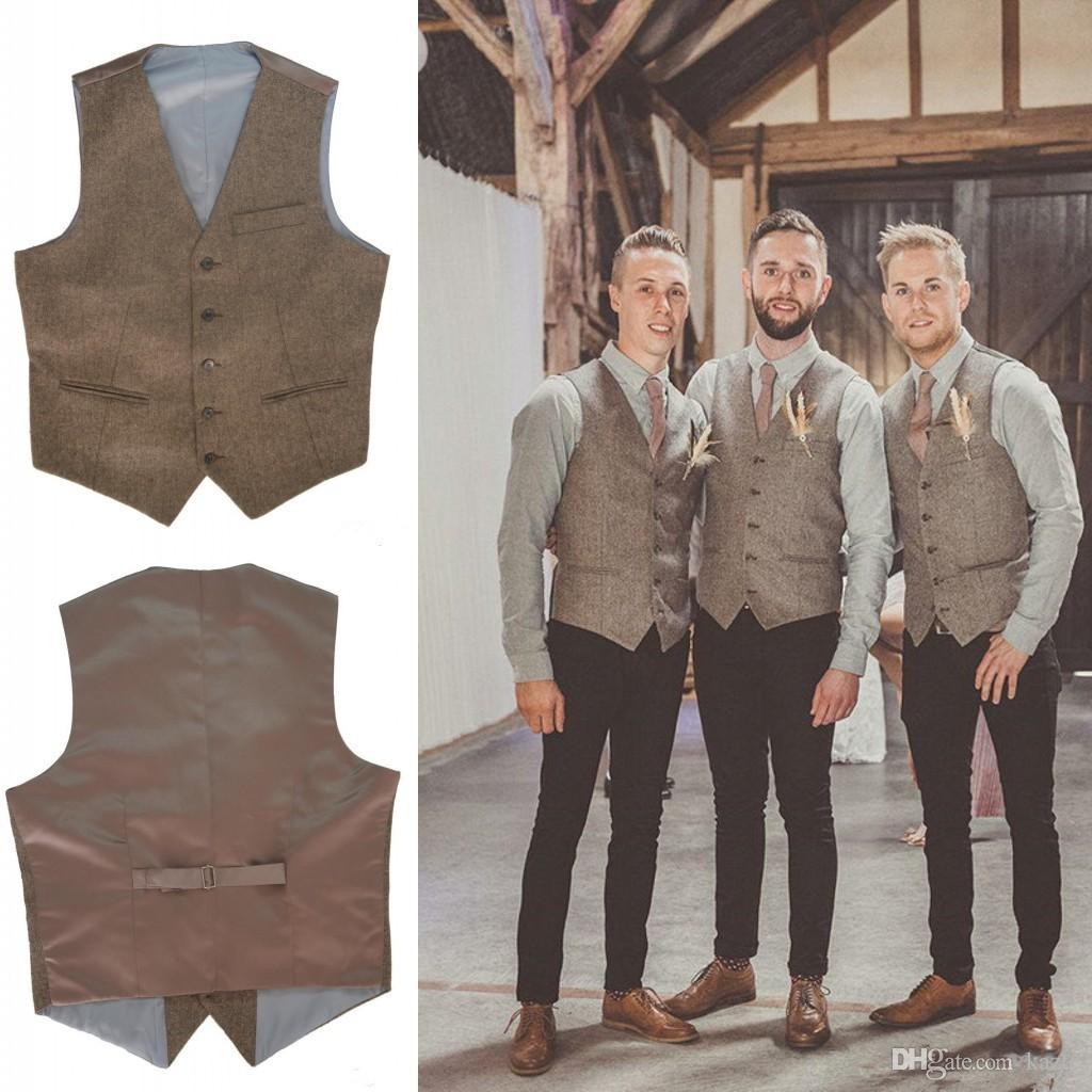 2017 New V Neck Brown Mens Wedding Vests Outerwear Groomsman Vest ...