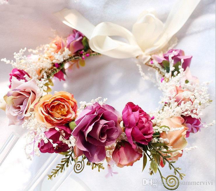 Brides Wreath Bohemia Stil Kinder Strand Urlaub Haar Zubehör Mädchen handgemachte Stereo stieg Simulation Blumen Girlanden R1019