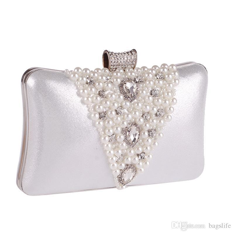 Embreagem da Noite do vintage Bolsa de Diamante Pérola Sacos Com Cadeia de Moda Designer de Prata de Ouro Saco de Noite Para O Vestido de Noiva
