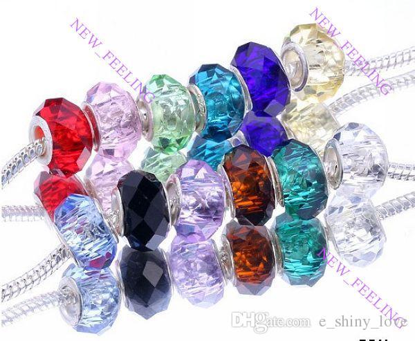 100 unids mezclar 925 Sivler núcleo facetado granos de cristal para la joyería que hace encantos de Murano flojo cuentas de bricolaje para la pulsera al por mayor a granel precio bajo