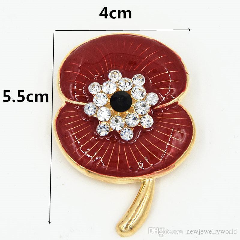 Plaqué Or Cristal Broche Fleur De Pavot La Légion Britannique Badge Élégant Broche Pavot Souvenir Pour Le Jour Du Souvenir Britannique Top Qualité