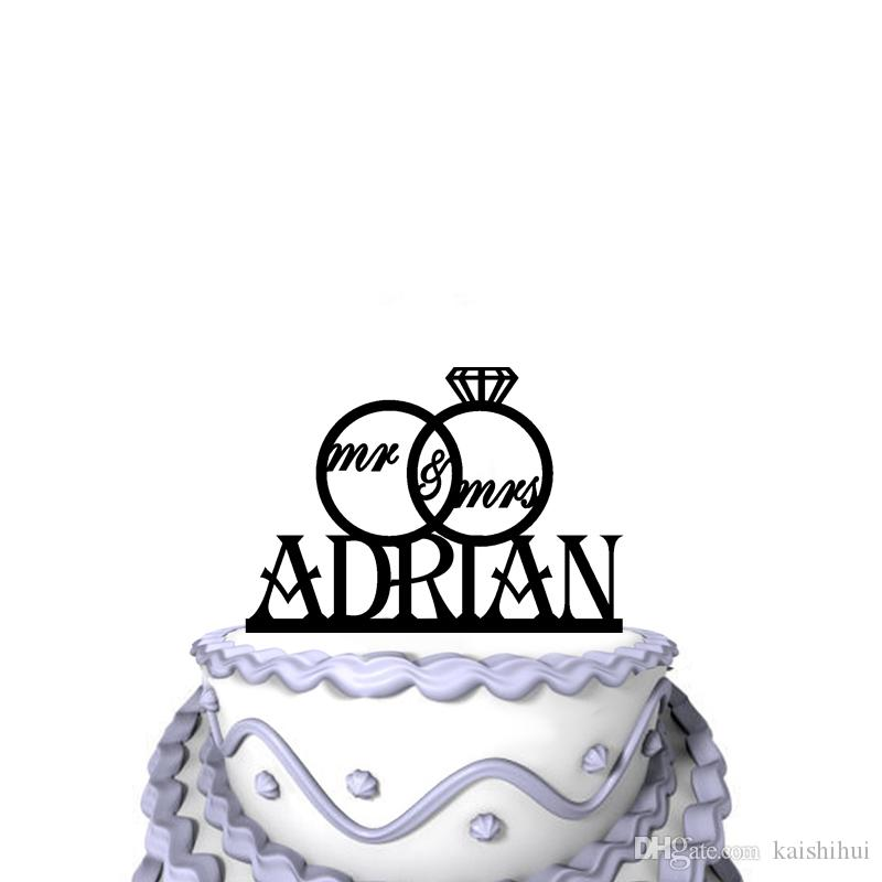 Personalized Funny Wedding Cake Toppers Script Mr Mrs Rings