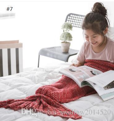 Meerjungfrau Baby Cosplay Decken Mermaid Tail Gestrickte Decke Kinder Handgemachte Häkelarbeit Decke Werfen Bett Wrap Sofa Schlafsack 170 * 40 CM