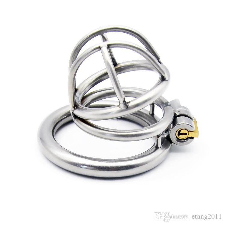 2019 ultima gabbia di progettazione in acciaio inox dispositivi di schiavitù maschile doppia forma di picco Giocattoli del sesso gli uomini Cintura di castità anelli del pene bdsm sm