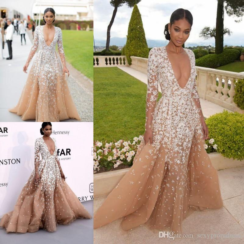 e85b16edca9 Zuhair Murad 2017 Deep V Neck Prom Dresses Champagne Color White Lace  Appliques Illusion Long Sleeve Evening Gowns Formal Party Dresses Prom  Short Dresses ...