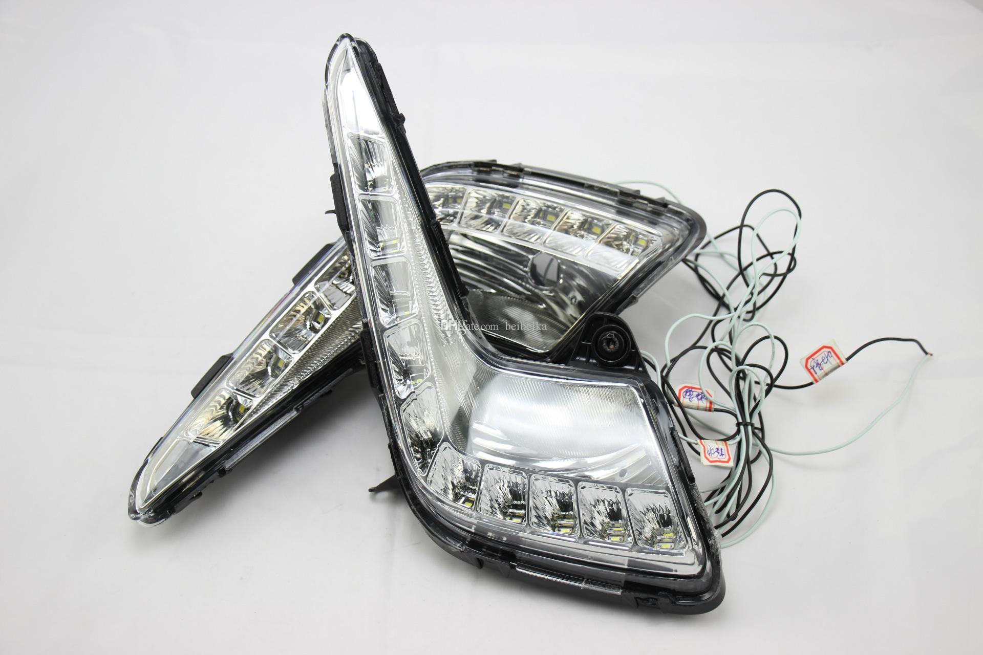 Auto-Tech 10-LED Feux de jour, assemblage de phares anti-brouillard de voiture kit LED blanc DRL Pour 2011-2013 KIA K2 RIO