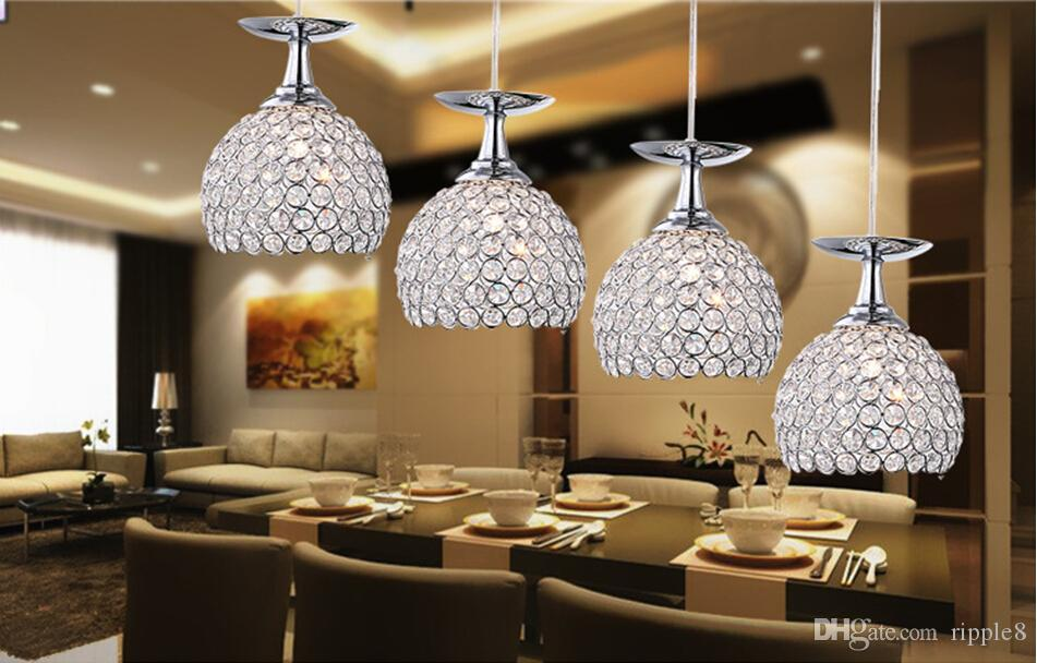 Wholesale Crystal Chandeliers Restaurant Restaurant Lights 3 Glass Dining Table Lamp Lights Creative Bar LED Pendant Lamps