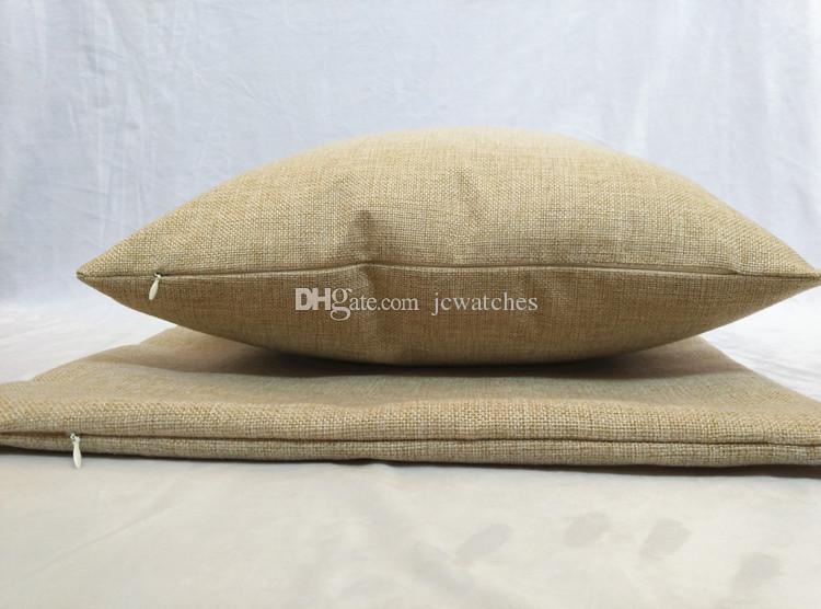 18 * 18 zoll Blank Kissenbezug Leinen Baumwolle Reißverschluss Dekokissen Fall mit Kein Design Hohe Qualität Kissen Fällen für DIY 45 * 45 cm