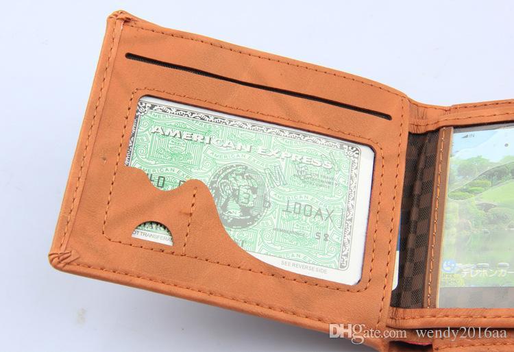 Hommes Haute Qualité En Cuir feuilles Portefeuille Card Card ouvert Embrayage Cente Bifold Purse Vintage simple court homme bourse pour hommes bestgift