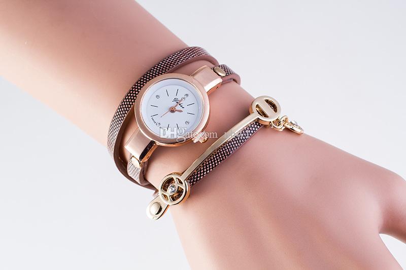 2016 Mode Nouveau Style D'été En Cuir Casual Bracelet Montre Montre-Bracelet Femmes Robe Montres Relogios Femininos Montre