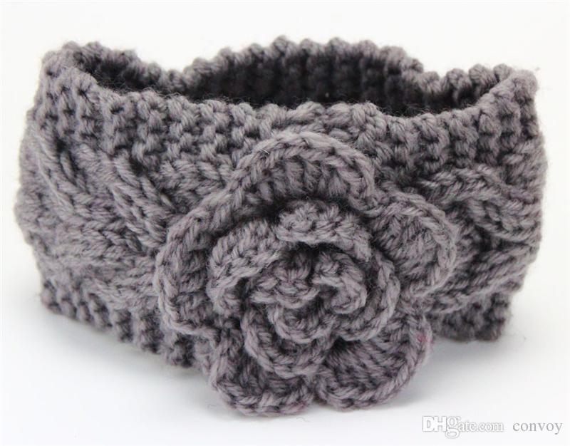 Girls Kids Winter Big Wool Crochet Headbands Flowers for toddler European Style Ear Warmers Children Braided Headbows Baby Beanies Cap KHA518