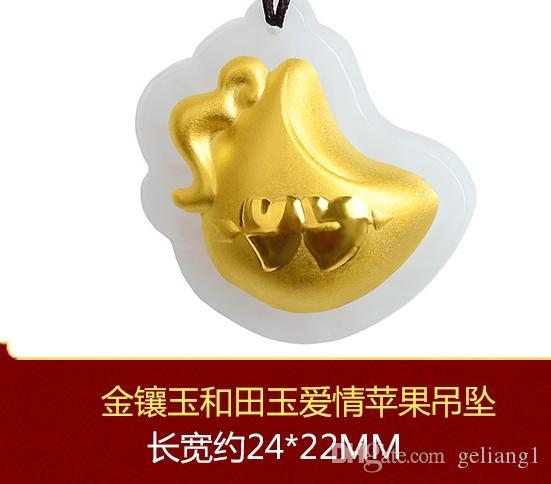 Altın kakma yeşim kolye kalp aşk elması. Tılsım kolye kolye.