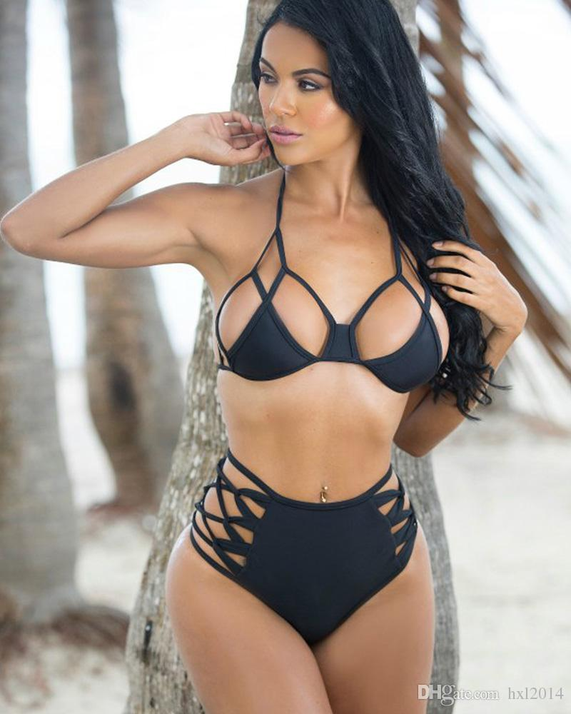 876bb8e37b 2019 Biquini 2019 Vintage Thong Bikini Set Strappy Bandage Black Swimwear  For Women High Waist Swimsuit Sexy Bathing Suit Beachwear Ft1606 From  Hxl2014