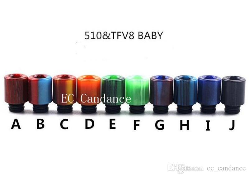 Nuovo design Ecig TFV8 Baby Clearomizer Boccaglio 510 Filetto in resina epossidica punta a goccia punte in acciaio inox a goccia in metallo TFV8 baby 510 Atomizzatore