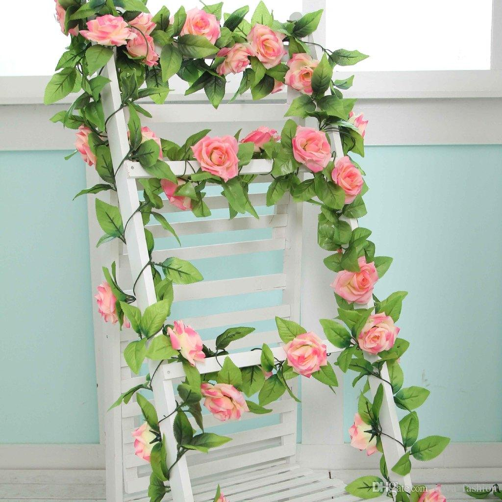 2019 Artificial Rose Vines Silk Craft Flowers Real Touch Flowers Elegant  Rose Vines For Bridal Wedding Bouquet Decoration Flowers ELF009 From