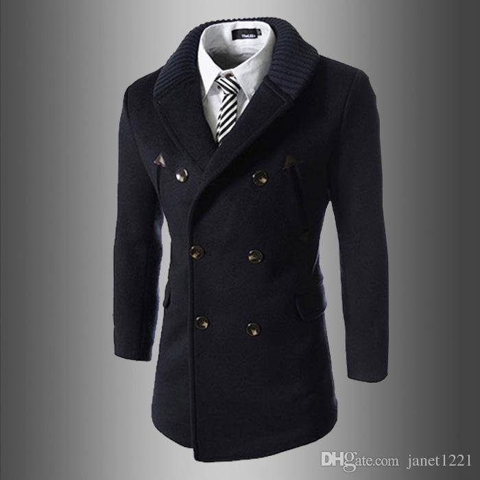 Wool Trench Coat Slim Men British Wild Style Double Breasted Trench Long Pea Coat Lapel Neck Solid Trench Coat For Mens J160908
