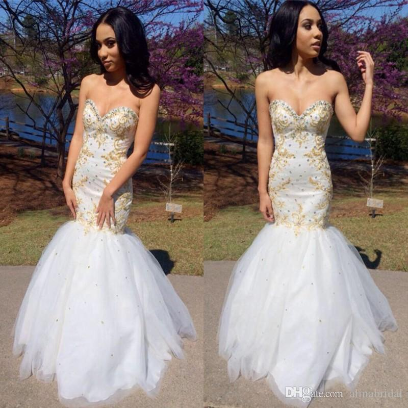 Mermaid Gold Beaded Prom Dresses with Bling Crystal back Lace Up Tulle Sweetheart Long Party Evening Gowns Lovely Homecoming Dress 2016