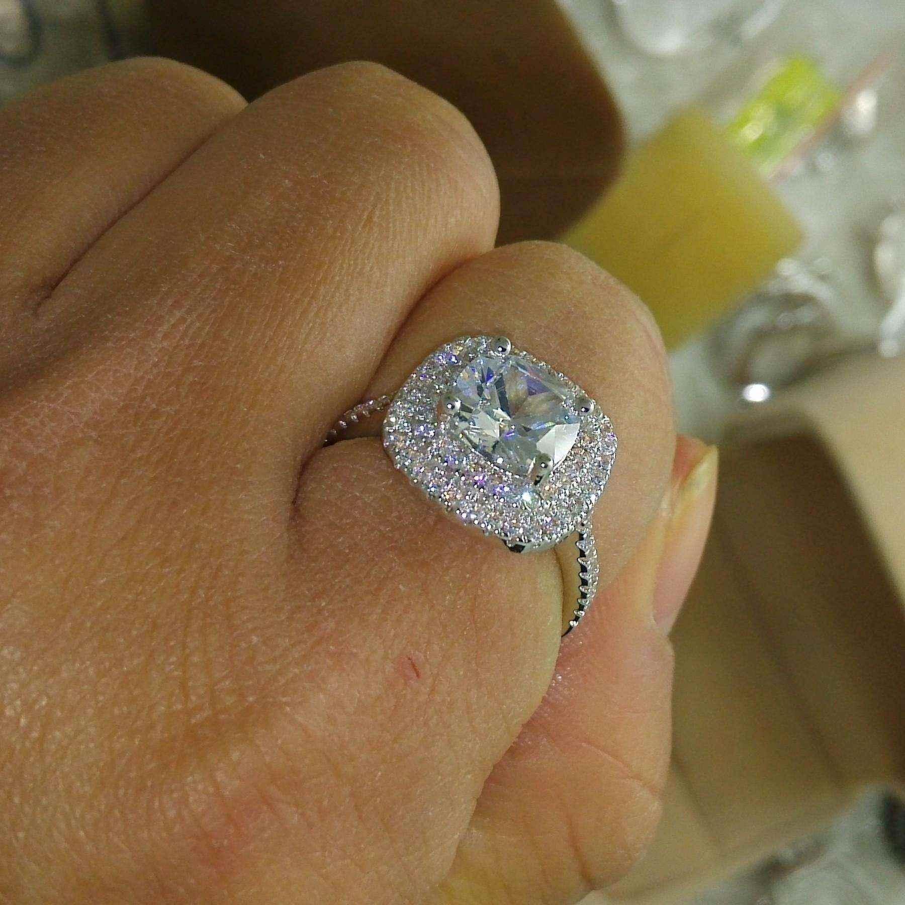 Размер 5-10 Роскошные ювелирные изделия 925 sterlling серебро пресыщается топаз CZ Алмазный Gem женщин свадьба имитируется подарок алмаз обручальное обручальное кольцо