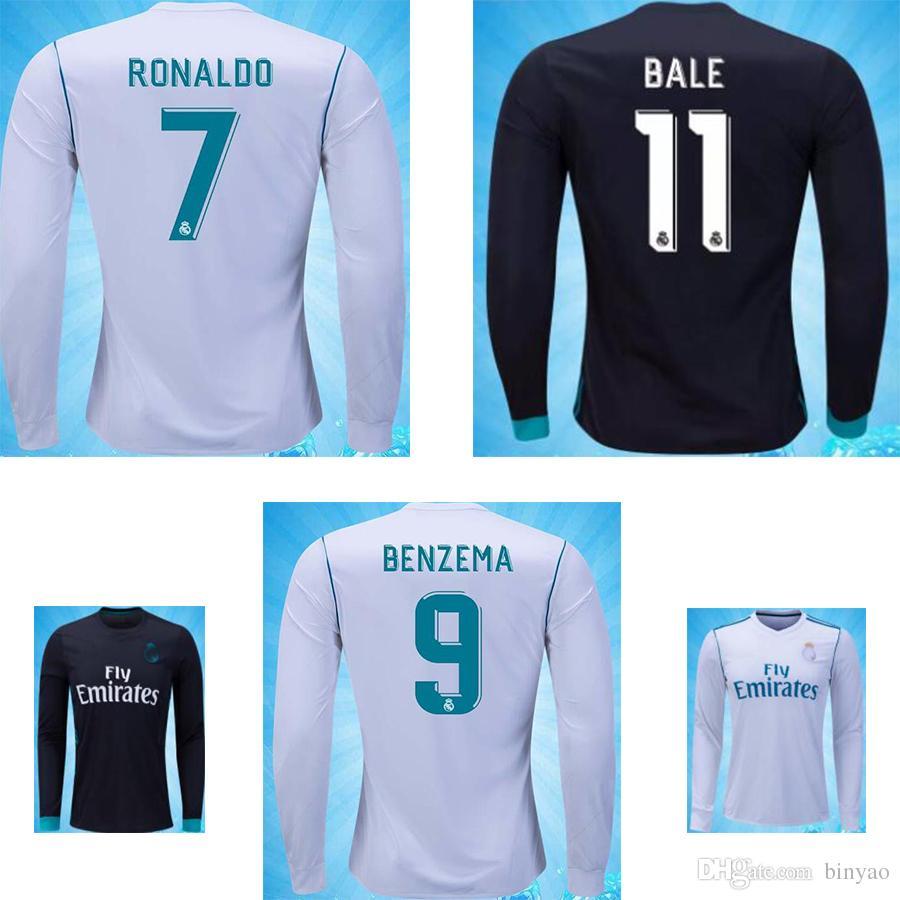 Personalizar camisetas de fútbol Real Madrid ronaldo de manga larga 2017  2018 Top fútbol de Tailandia 0c449a0a83d17