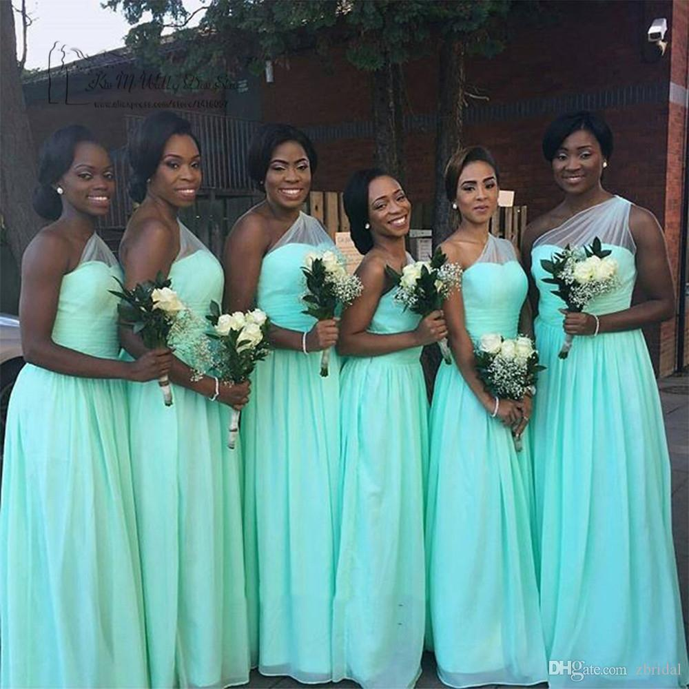 Mint green 2017 bridesmaid dresses tulle and chiffon plus size one mint green 2017 bridesmaid dresses tulle and chiffon plus size one shoulder wedding party gowns zb006 halter neck bridesmaid dresses latest bridesmaid ombrellifo Image collections