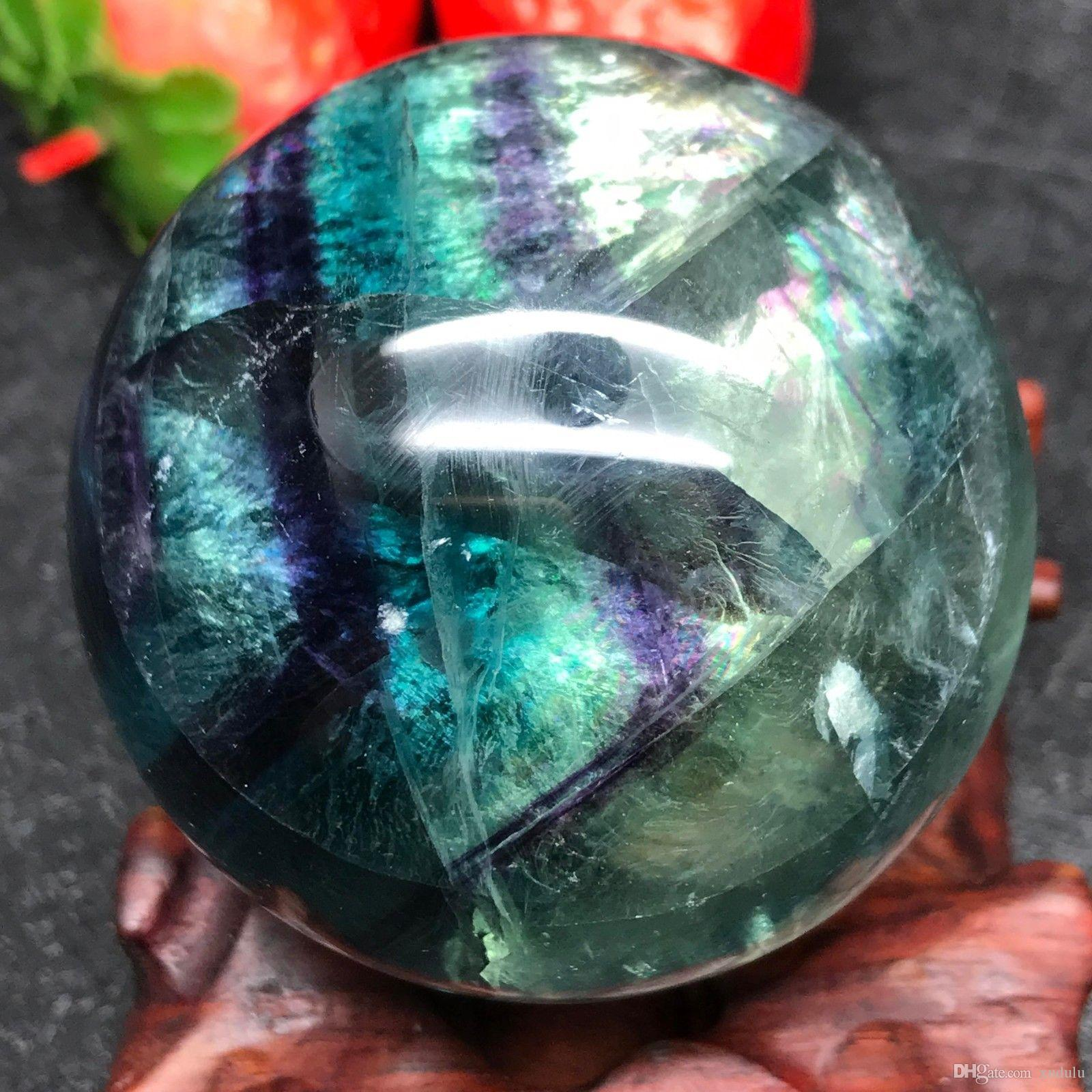 ABOUT 50MM Natural rainbow fluorite ball ornaments, colorful fluorite stone