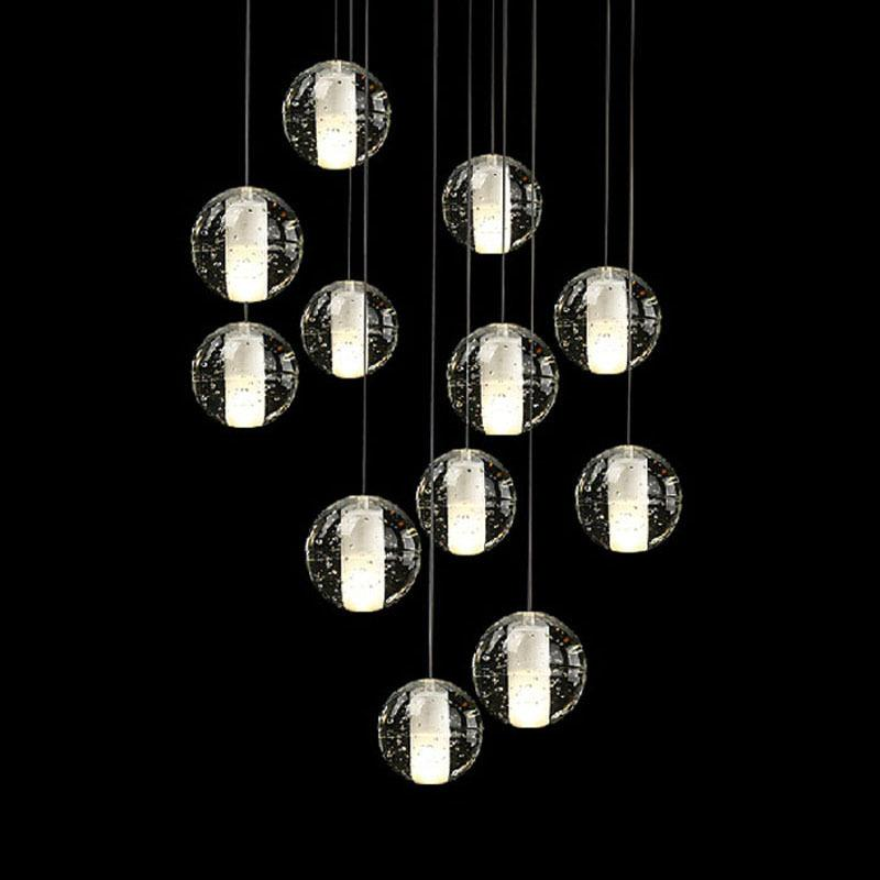 Zx modern led crystal chandelier magic crystal ball hall lamp loft stair g4 light diy meteor shower lustre pendant lamp 90 260v plug in hanging lamp