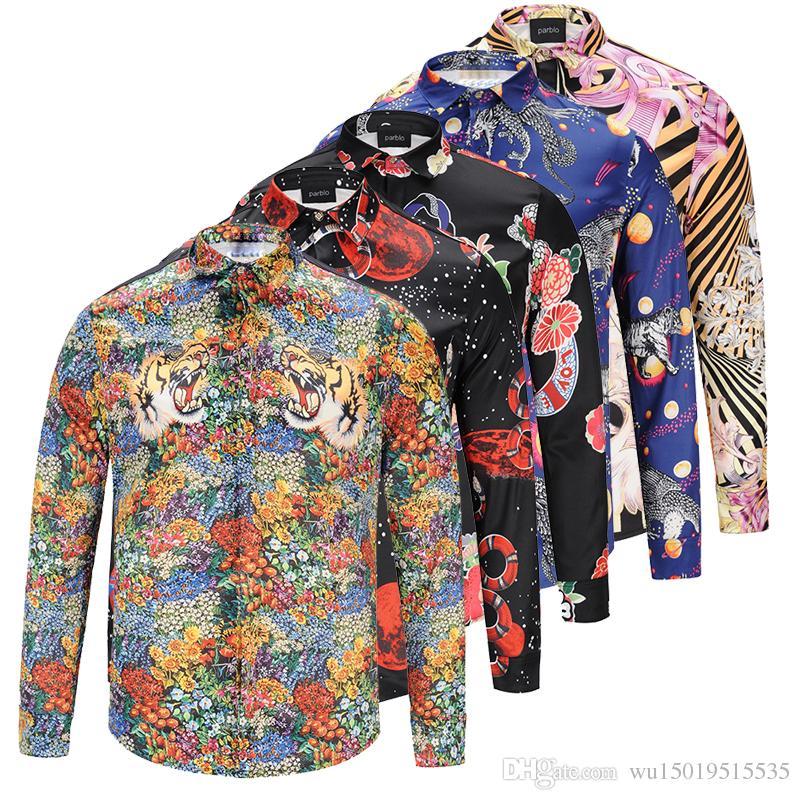7fb2d863f0 Compre Al Por Mayor Nueva Marca De Moda De Otoño Hombres Colthes Slim Fit Hombres  Camisa De Manga Larga Medusa Oro Tigre Imprimir Camisas Hombres Casual ...